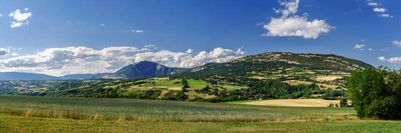 Beautiful wide angle panoramic view, original nature, Alps