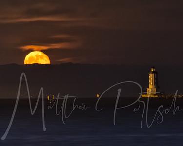 Moon over Point Fermin Lighthouse