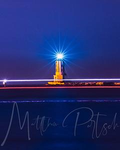 Boat light trail at the LA Harbor Light House, San Pedro, CA