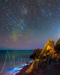 Star Trails at Pt Mugu with bioluminescence