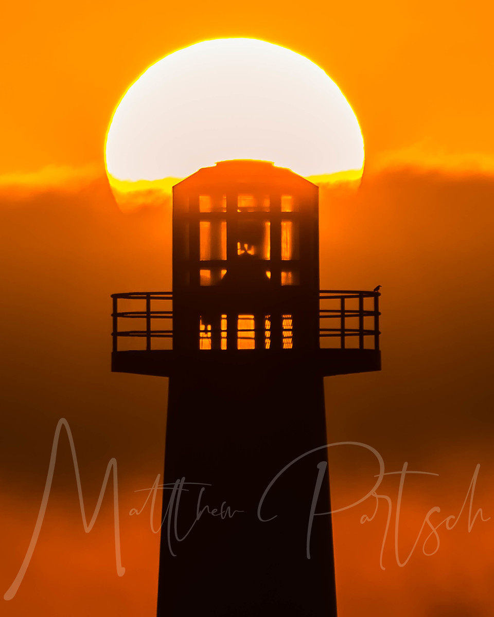 Silhouette lighthouse in Long Beach California, with a lone bird