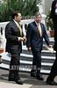 19-04-2009 - Oscar Arias , presidente de Costa Rica a su llegada a la realizacion de la foto oficial en la V cumbre de las americas,, realizada en Puerto España , Trinidad & Tobago / Oscar Arias - Costa Rica -  und Elias Antonio Saca - El Salvador - am Treffen der Präsidenten Lateinamerikas 2009 © Juan Carlos Hernandez/LATINPHOTO.org