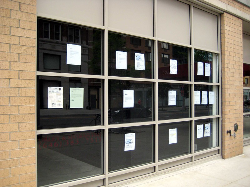 """Prior """"Artist's Rejection Letters"""" posted on the gallery storefront."""