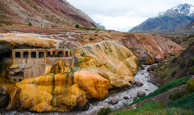 The Inca's Bridge (Natural Stone Bridge)<br /> Vacas River<br /> Puente del Inca, The Andes