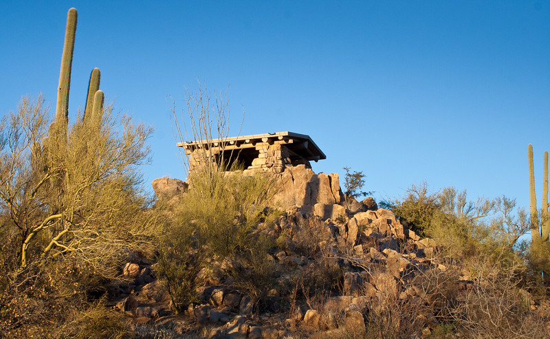 A picnic Ramada at sunset, Saguaro National Park West