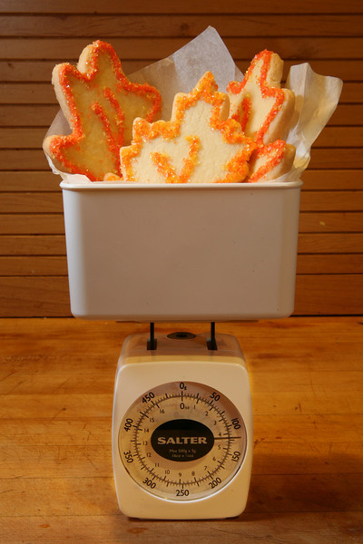 Autumn cookies weigh heavily on the food scale.(cookies courtesy of Sweet Things Bakery in Tiburon, Ca.