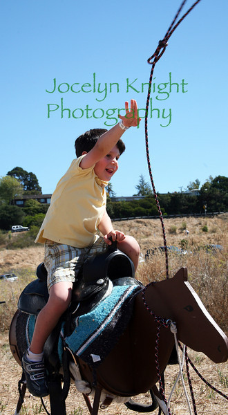 Harrison Kahn, 4, of Tiburon practices throwing a lasso around a steer head at Blackie's Hay Day in Blackie's pasture, Tiburon, CA on Saturday, September 25, 2010.