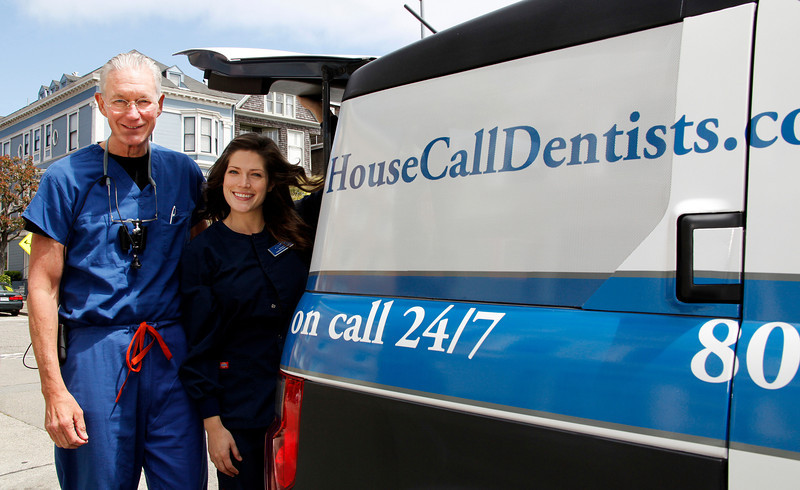 Mobile Dentist Dr. David Blende, founder of Bay Area House Call Dentists and Registered Dental Assistant Kathryn Sullivan with the mobile dentist van, equipped with everything from portable X-Ray equipment to dental tools near his office on Laurel St in San Francisco, Calif. on Thursday, June 2, 2011.