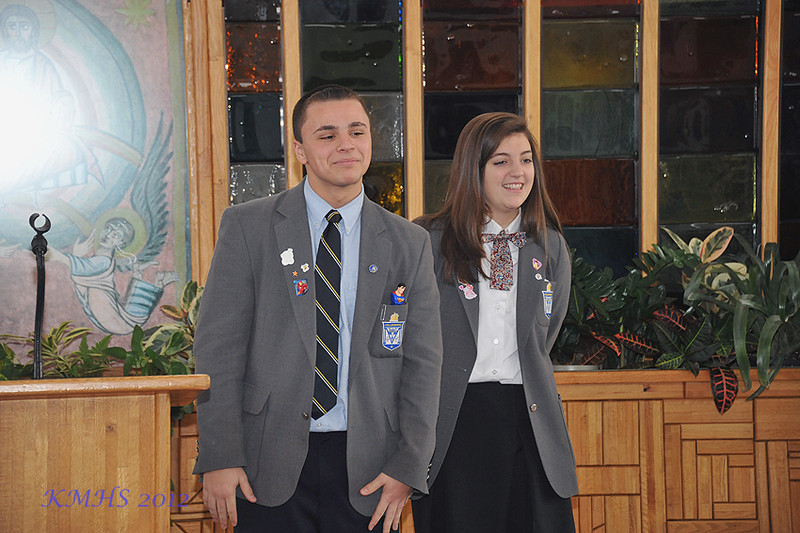 Kevin Stefanak and Catherine Edwards explained their role as mentors to the 9th grade retreatants.
