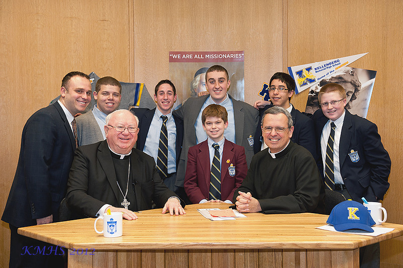 The next stop for the Bishop was to see Kellenberg's version of Telecare.  Here is the crew behind the camera, mics and lights that delivers the ETV morning announcements into every homeroom and even to many parents via our streaming link on the Kellenberg web page.