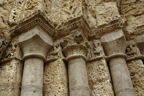 Carvings on the Church of Saint-Jacques, Aubeterre-sur-Dronne, France