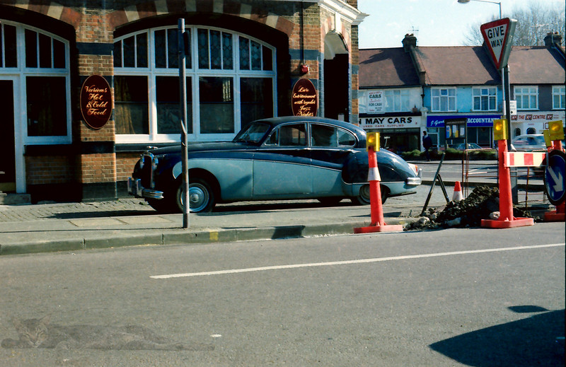 A Jaguar outside The Leather Bottle (80s)