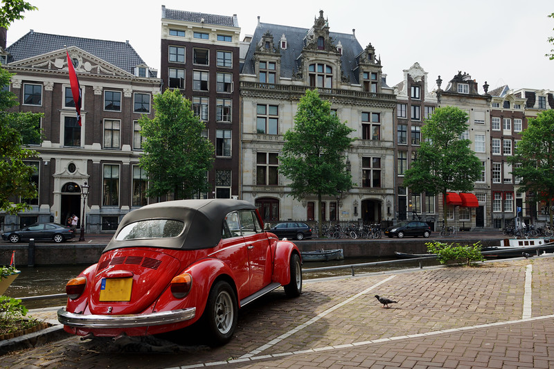 Red Volkswagon Convertible in Amsterdam