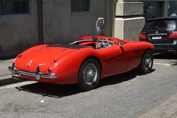 Red Austin Healey Convertible