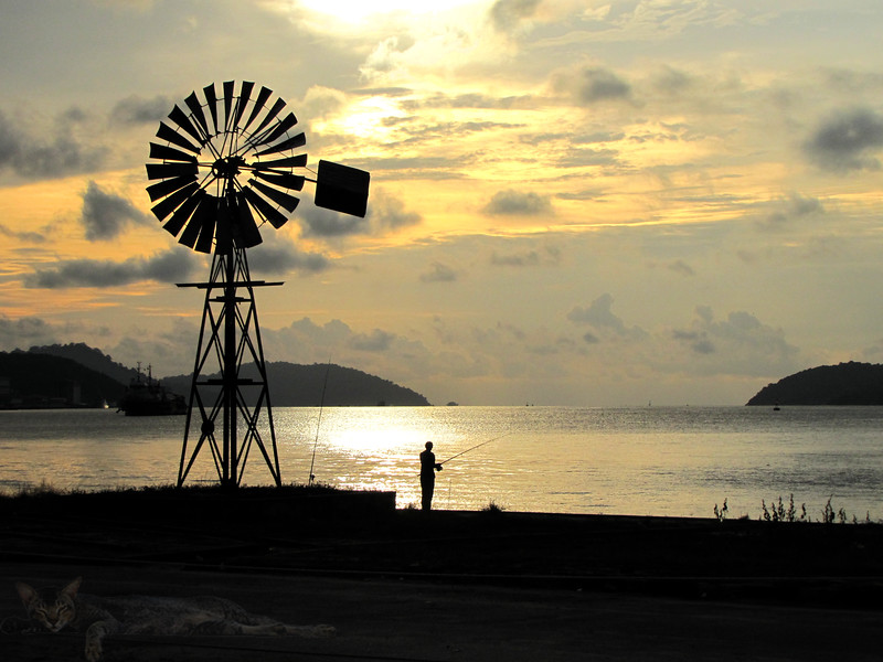 Windmill in Lumut at Dusk