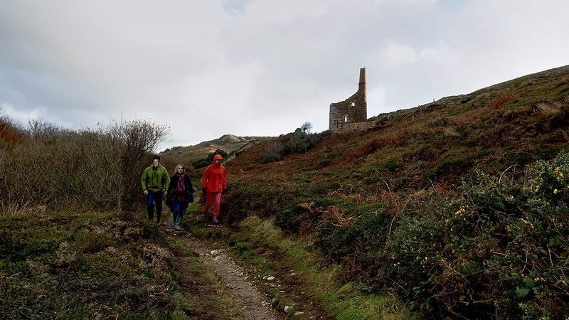 Hikers on a Path in Cornwall