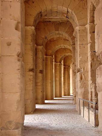 Columns in The Amphitheatre at El Jem, Tunisia