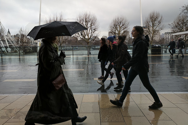People Walking in the Rain - Southbank