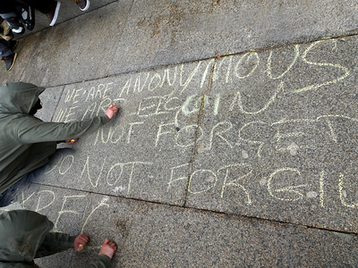 ANONYMOUS Graffiti at Trafalgar Square