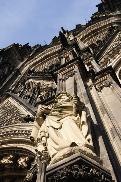 Statue of Saint on Dom Cathedral, Cologne Germany