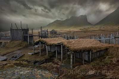 Viking village, Vestrahorn near Hofn, Iceland. Viking village was created for a film that was never shot and is now open to visitors.