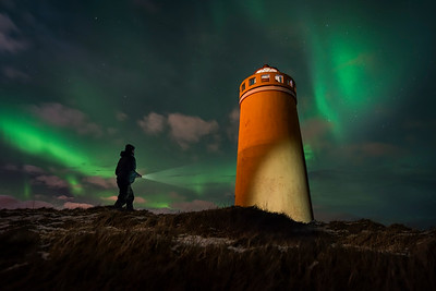 Giles Rocholl exploring the Keflavik lighthouse, Iceland Photo Tour February 2017