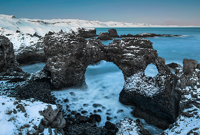 Twilight over the sea arch at Arnarstarpi, Iceland photo tour, February 2016