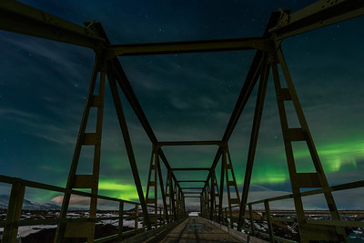 Northern lights over Godafoss river bridge, Iceland Photo Tour February 2017