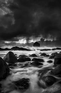Sea storm around sea stacks near Sandvik,Iceland