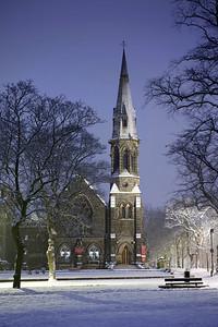 Night time snow scene United Reform Church,West Park, Harrogate North Yorkshire.