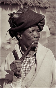 Lady smoking a pipe near Queenstown, South Africa 1987-1991