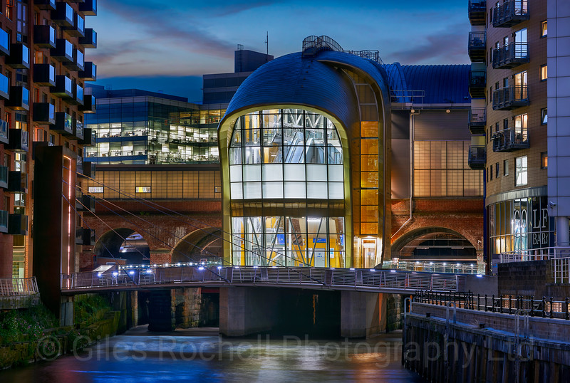 Leeds Railway Station South Entrance, dusk night shot, Leeds West Yorkshire, United Kingdom.