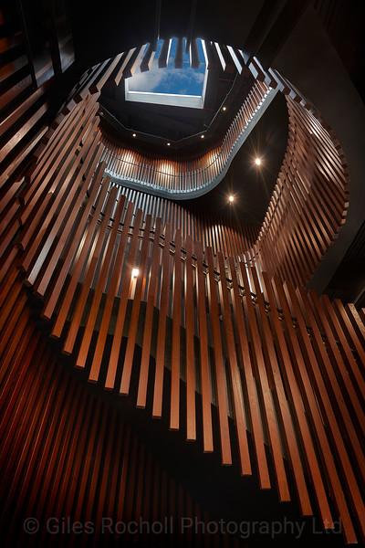 Victoria Gate, Staircase, Spiral, Art, Graphic, Wood, Modern, Interior, Leeds, West Yorkshire, United Kingdom.