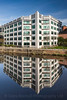 Whitehall Quay, River Aire, Reflections, Leeds West Yorkshire, United Kingdom.