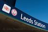 Leeds railway Station sign, Leeds West Yorkshire, United Kingdom.
