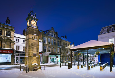 Otley Clock, Snow, Otley, West Yorkshire, United Kingdom. 01.03.2018