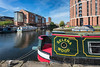 Barge, Water side, Canal, Granary Wharf, Canal Side, Leeds West Yorkshire, United Kingdom.