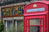 Horsforth Museum and Red Phone box, Horsforth, Town Street, Leeds West Yorkshire, United Kingdom.