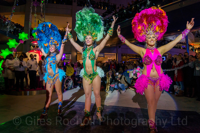 Trinity Shopping Centre, Dancers, Cabaret, sequins and feather boas, burlesque, glamour dancers, night show time,Leeds West Yorkshire, United Kingdom.