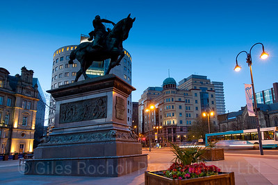 The Black Prince, Dusk, Leeds City Square, Statue, Leeds West Yorkshire, United Kingdom.