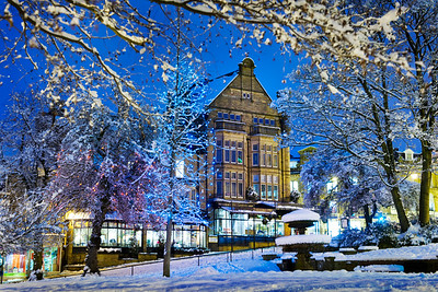 Snow scene Bettys cafe, Harrogate North Yorkshire.