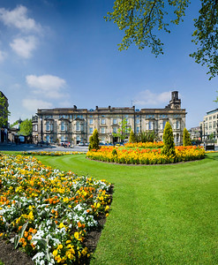 Spring flowers the Crown roundabout, Harrogate, North Yorkshire, United Kingdom