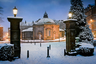 Night time snow scene Pump Room museum, Harrogate North Yorkshire.