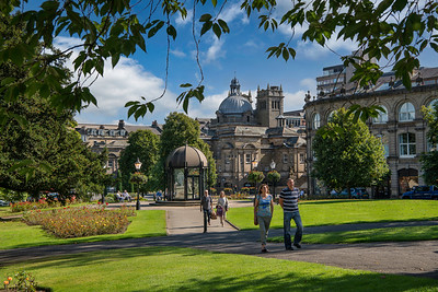 Crescent Gardens, Harrogate; town centre; sunny day; North Yorkshire.; flowers; floral display; gardens; blue sky