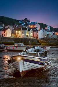 Dusk at Staithes harbour, North Yorkshire, United Kingdom.