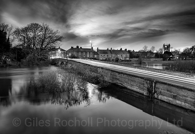Tadcaster, night shot showing high river level, Tadcaster, North Yorkshire, United Kingdom
