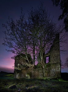 Abandoned house, Thruscross Reservoir, North Yorkshire, United Kingdom. Oct 30th 2020