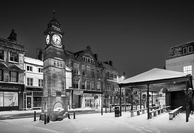 Otley Clock, Snow, Otley, West Yorkshire, United Kingdom. 01.03.2018