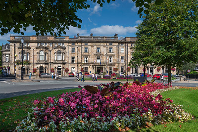 The Crown Hotel, Crown roundabout, Harrogate; sunny day; North Yorkshire.; flowers; floral display; gardens; blue sky