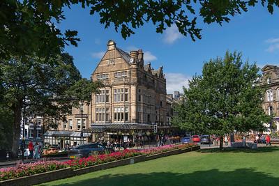 Bettys; Bettys Cafe; Harrogate; town centre,sunny day; North Yorkshire.; flowers; floral display; gardens; blue sky